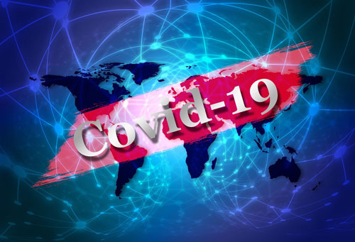 COVID-19 text over world map