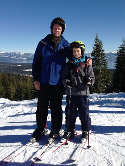 Dave skiing with his son