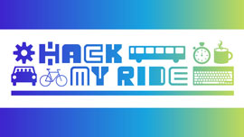 Hack my ride, blue and green logo