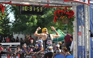 Jeff comleting a triathlon