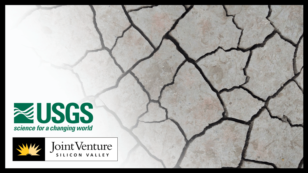 Image of cracked ground with JVSV and USGS logos in bottom left