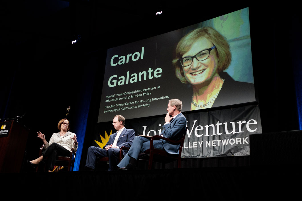 Carol Galante and Steve Heminger in fireside chat with Russell Hancock