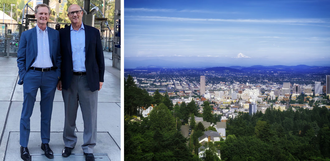 Photo of Russ Hancock and Jim Wunderman next to a photo of scenic view of Portland