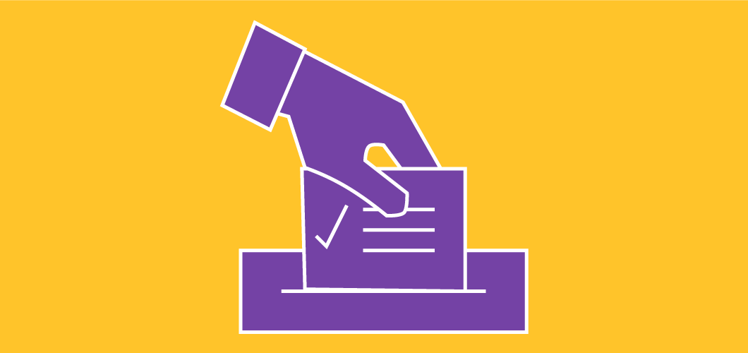 illustration of hand with ballot