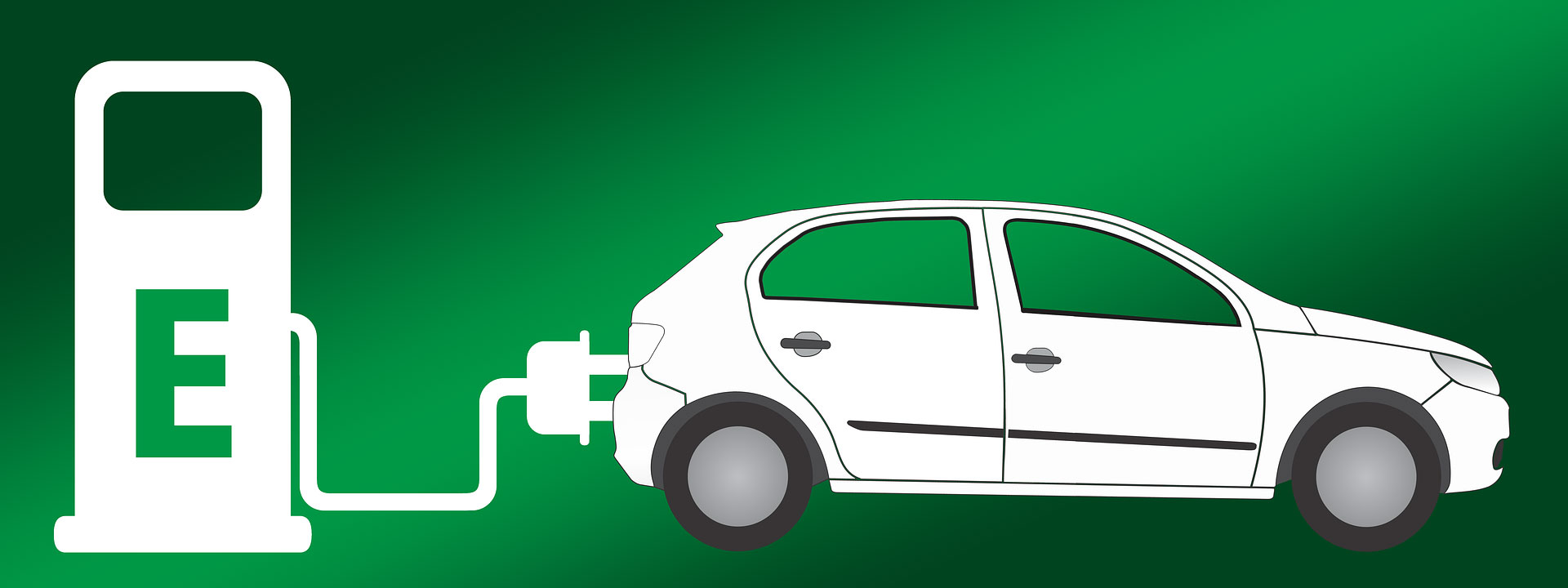 illustration of electric car being charged