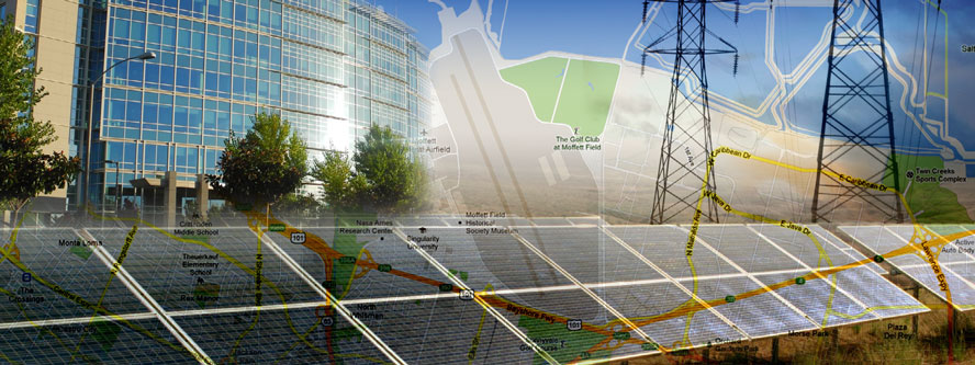 solar panel image overlaying building image and map