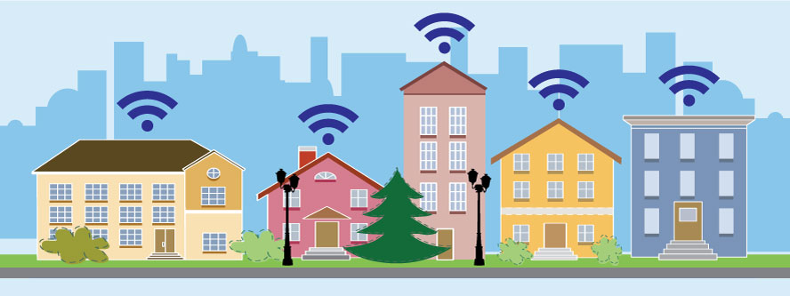illustration of houses with wifi symbol over them