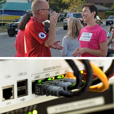 Top photo: Susan Ellenberg chatting with community member. Bottom photo: ethernet cables plugged into switch